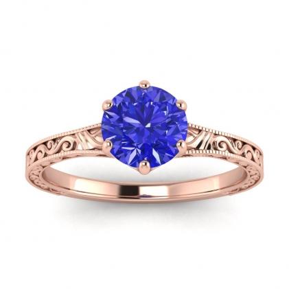 14k Rose Gold Corinne Scrollwork Engraving Sapphire Ring
