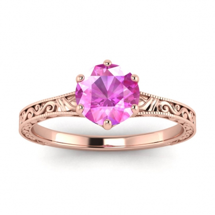 14k Rose Gold Corinne Scrollwork Engraving Pink Sapphire Ring