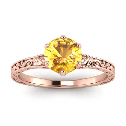 14k Rose Gold Corinne Scrollwork Engraving Yellow Sapphire Ring