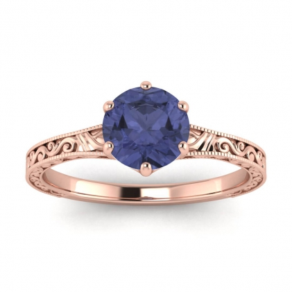 14k Rose Gold Corinne Scrollwork Engraving Tanzanite Ring
