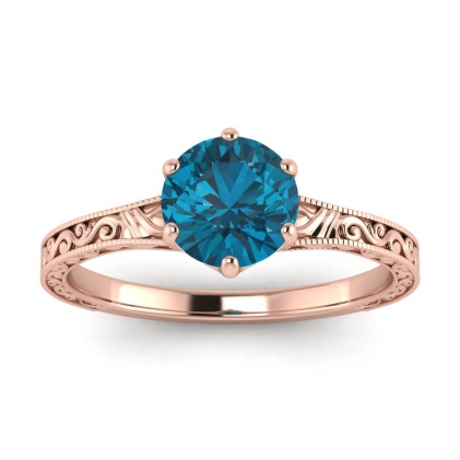 14k Rose Gold Corinne Scrollwork Engraving Blue Topaz Ring