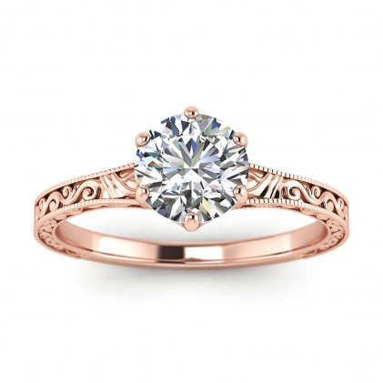 14k Rose Gold Corinne Scrollwork Engraving Ring