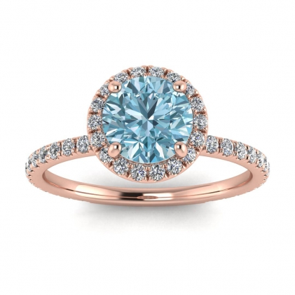 14k Rose Gold Mirabel Thin Band Halo Aquamarine and Diamond Ring (2/5 CT. TW.)