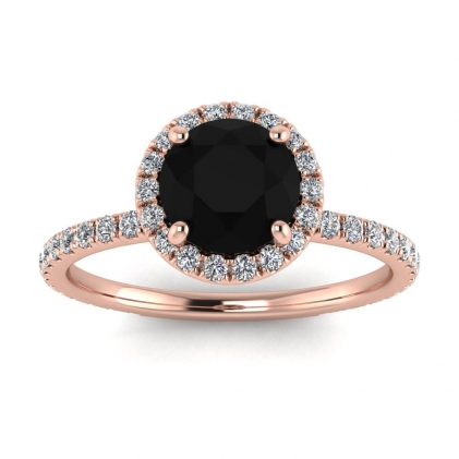 14k Rose Gold Mirabel Thin Band Halo Black Diamond and Diamond Ring (2/5 CT. TW.)