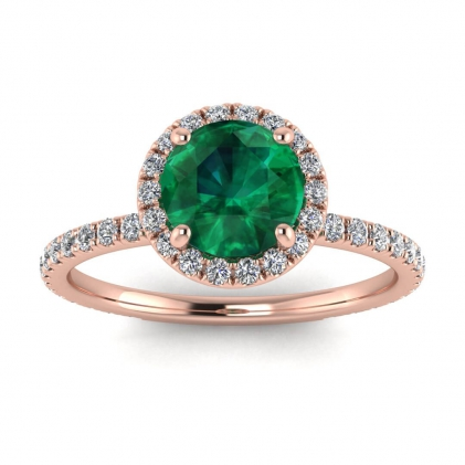 14k Rose Gold Mirabel Thin Band Halo Emerald and Diamond Ring (2/5 CT. TW.)