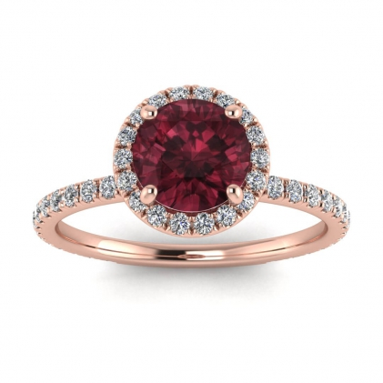 14k Rose Gold Mirabel Thin Band Halo Garnet and Diamond Ring (2/5 CT. TW.)
