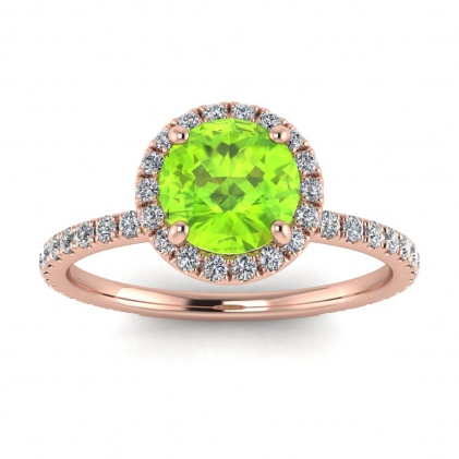 14k Rose Gold Mirabel Thin Band Halo Peridot and Diamond Ring (2/5 CT. TW.)
