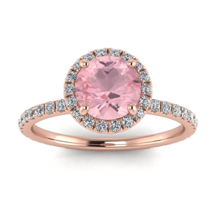 14k Rose Gold Mirabel Thin Band Halo Rose Quartz and Diamond Ring (2/5 CT. TW.)