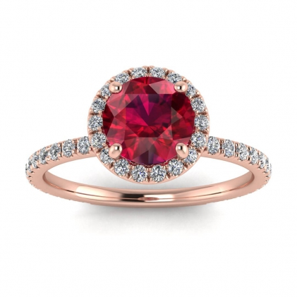 14k Rose Gold Mirabel Thin Band Halo Ruby and Diamond Ring (2/5 CT. TW.)
