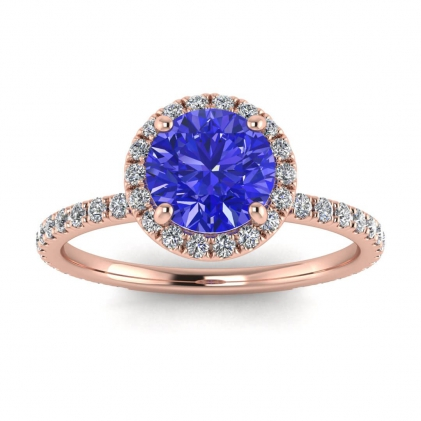 14k Rose Gold Mirabel Thin Band Halo Sapphire and Diamond Ring (2/5 CT. TW.)
