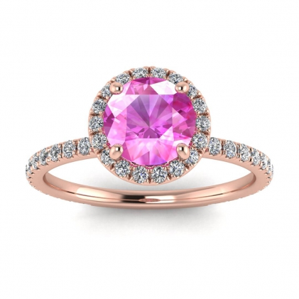 14k Rose Gold Mirabel Thin Band Halo Pink Sapphire and Diamond Ring (2/5 CT. TW.)