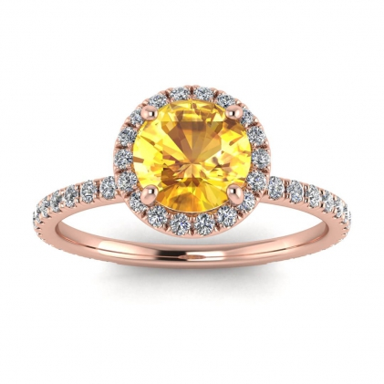 14k Rose Gold Mirabel Thin Band Halo Yellow Sapphire and Diamond Ring (2/5 CT. TW.)