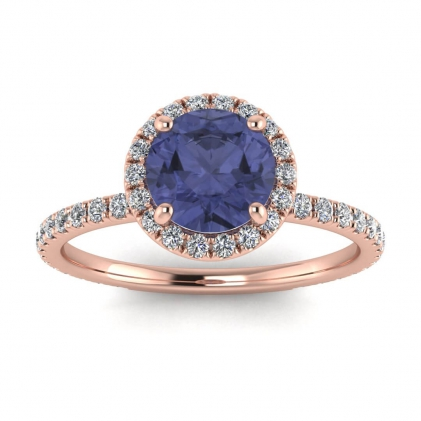 14k Rose Gold Mirabel Thin Band Halo Tanzanite and Diamond Ring (2/5 CT. TW.)