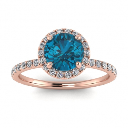 14k Rose Gold Mirabel Thin Band Halo Blue Topaz and Diamond Ring (2/5 CT. TW.)