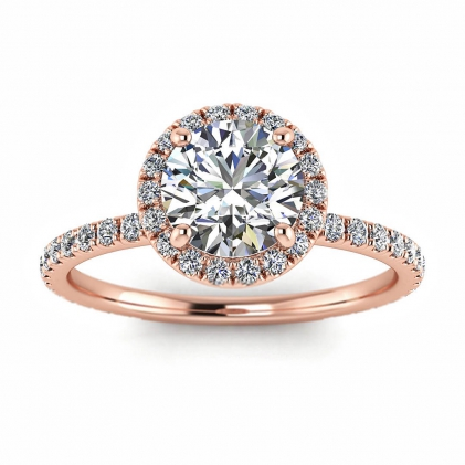 14k Rose Gold Mirabel Thin Band Halo Diamond Ring (2/5 CT. TW.)