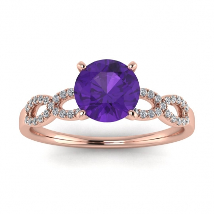 14k Rose Gold Mona Scalloped Pave Infinity Amethyst and Diamond Ring (1/10 CT. TW.)