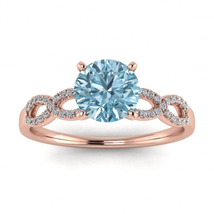 14k Rose Gold Mona Scalloped Pave Infinity Aquamarine and Diamond Ring (1/10 CT. TW.)