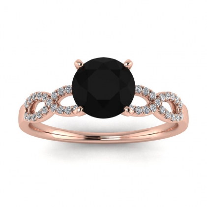 14k Rose Gold Mona Scalloped Pave Infinity Black Diamond and Diamond Ring (1/10 CT. TW.)