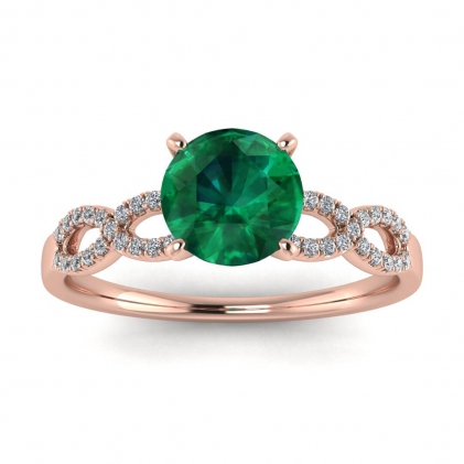14k Rose Gold Mona Scalloped Pave Infinity Emerald and Diamond Ring (1/10 CT. TW.)