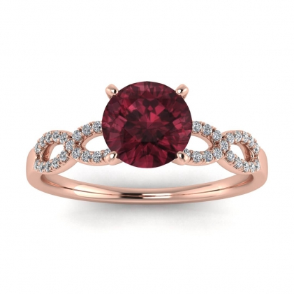 14k Rose Gold Mona Scalloped Pave Infinity Garnet and Diamond Ring (1/10 CT. TW.)
