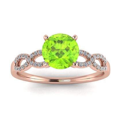 14k Rose Gold Mona Scalloped Pave Infinity Peridot and Diamond Ring (1/10 CT. TW.)