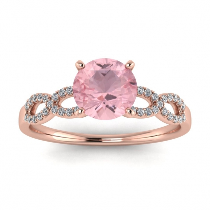 14k Rose Gold Mona Scalloped Pave Infinity Rose Quartz and Diamond Ring (1/10 CT. TW.)