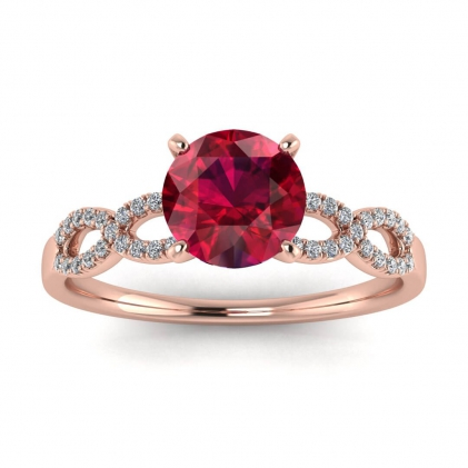 14k Rose Gold Mona Scalloped Pave Infinity Ruby and Diamond Ring (1/10 CT. TW.)