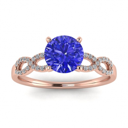 14k Rose Gold Mona Scalloped Pave Infinity Sapphire and Diamond Ring (1/10 CT. TW.)