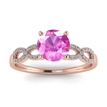 14k Rose Gold Mona Scalloped Pave Infinity Pink Sapphire and Diamond Ring (1/10 CT. TW.)