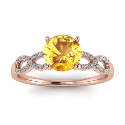 14k Rose Gold Mona Scalloped Pave Infinity Yellow Sapphire and Diamond Ring (1/10 CT. TW.)
