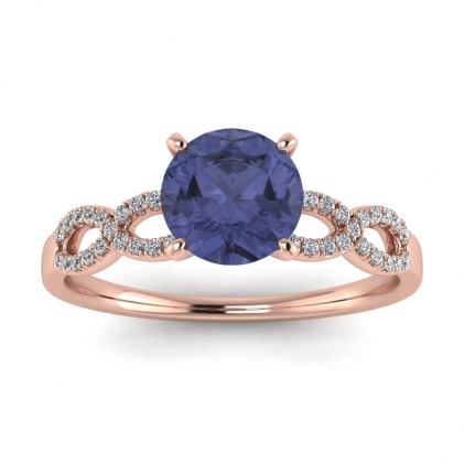 14k Rose Gold Mona Scalloped Pave Infinity Tanzanite and Diamond Ring (1/10 CT. TW.)