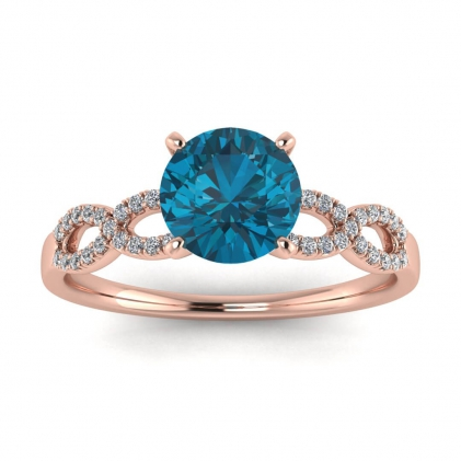 14k Rose Gold Mona Scalloped Pave Infinity Blue Topaz and Diamond Ring (1/10 CT. TW.)