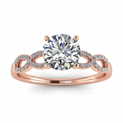 14k Rose Gold Mona Scalloped Pave Infinity Diamond Ring (1/10 CT. TW.)