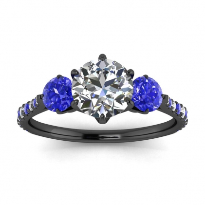 14k Black Gold Jean Three Stone Diamond and Sapphire Anniversary Ring