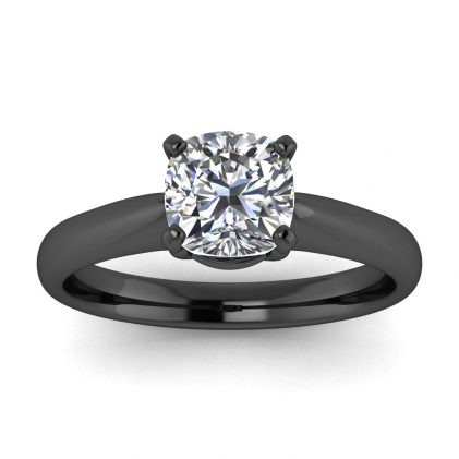 14k Black Gold Aine Tapered Band Cushion Cut Diamond Ring