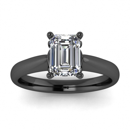 14k Black Gold Aine Tapered Band Emerald Cut Diamond Ring