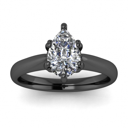 14k Black Gold Aine Tapered Band Pear Shaped Diamond Ring