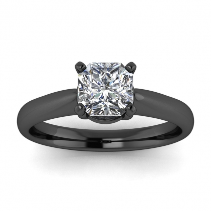 14k Black Gold Aine Tapered Band Radiant Cut Diamond Ring
