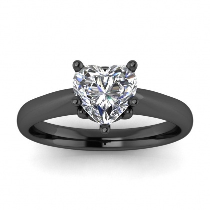 14k Black Gold Aine Tapered Band Heart Shaped Diamond Ring