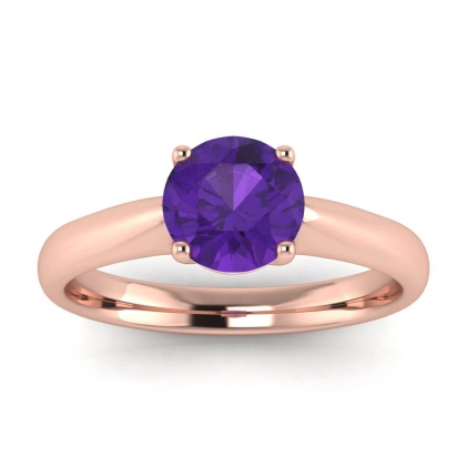 14k Rose Gold Aine Tapered Band Amethyst Ring