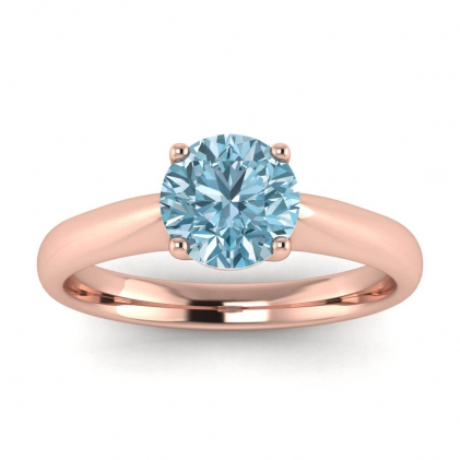 14k Rose Gold Aine Tapered Band Aquamarine Ring