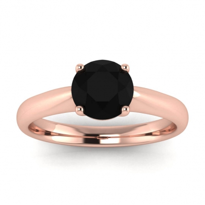 14k Rose Gold Aine Tapered Band Black Diamond Ring