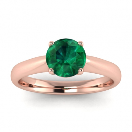 14k Rose Gold Aine Tapered Band Emerald Ring