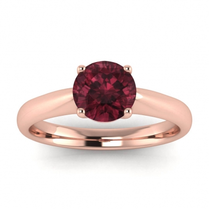 14k Rose Gold Aine Tapered Band Garnet Ring