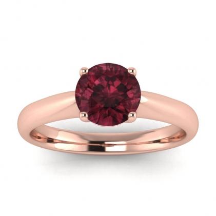 14k Rose Gold Aine Tapered Band Garnet Ring