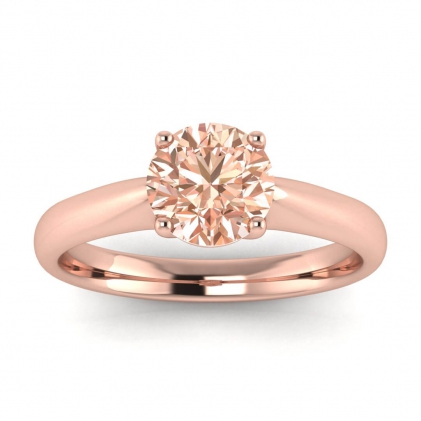 14k Rose Gold Aine Tapered Band Morganite Ring