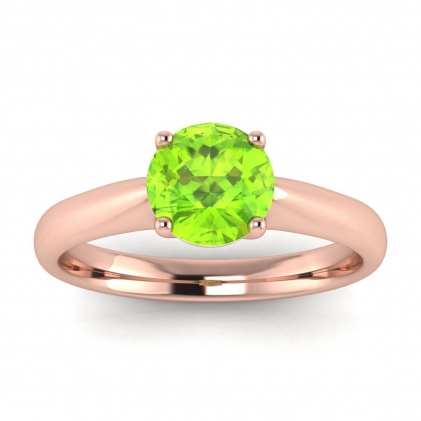 14k Rose Gold Aine Tapered Band Peridot Ring