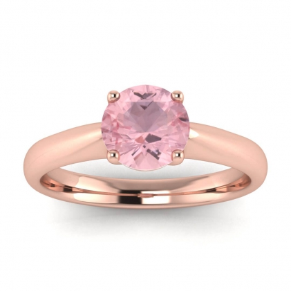 14k Rose Gold Aine Tapered Band Rose Quartz Ring
