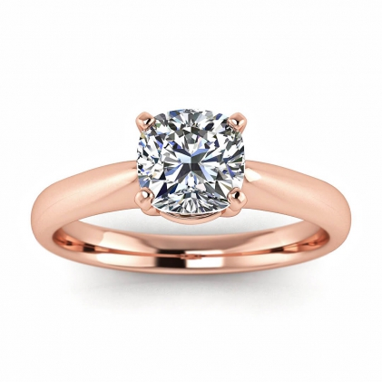 14k Rose Gold Aine Tapered Band Cushion Cut Diamond Ring