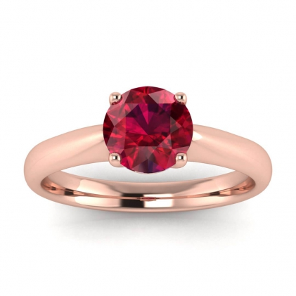 14k Rose Gold Aine Tapered Band Ruby Ring